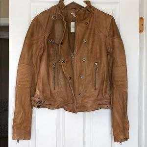 Free People Tan Leather Jacket